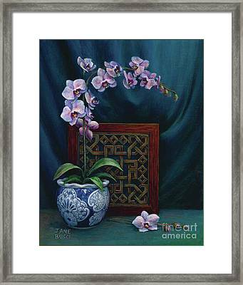 Framed Print featuring the painting Orchids In A Chinese Pot by Jane Bucci