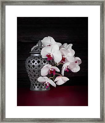 Orchids With Gray Ginger Jar Framed Print