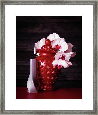 Orchids With Red And Gray Framed Print