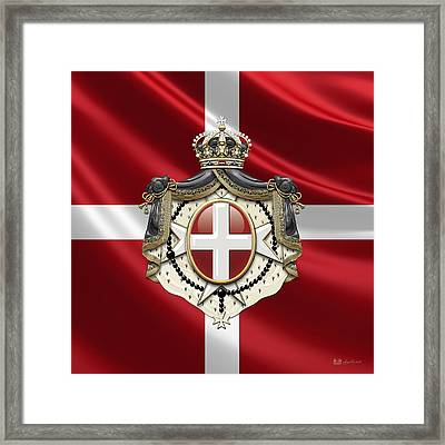 Order Of Malta Coat Of Arms Over Flag Framed Print by Serge Averbukh