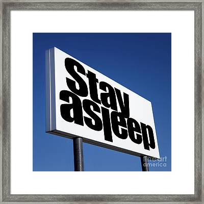 Order To Stay Asleep Framed Print by Germano Poli