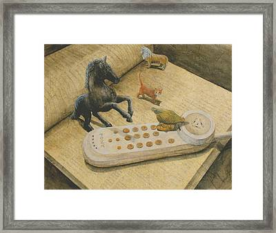 Ordering Pizza Framed Print by Sandy Clift