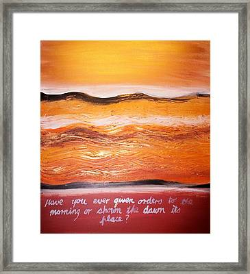Framed Print featuring the painting Orders To The Morning by Winsome Gunning