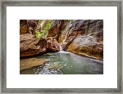 Orderville Canyon Waterfall Zion National Park Framed Print by Scott McGuire