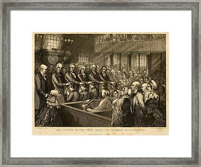 Ordination Of The First American Framed Print by Everett
