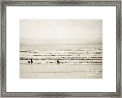 Oregon Beach Dogs Coast Framed Print