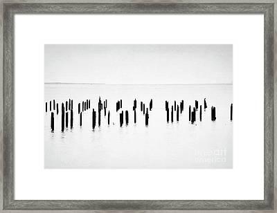 Oregon Dock Posts Landscape Framed Print by Andrea Hazel Ihlefeld