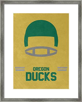 Oregon Ducks Vintage Football Art Framed Print