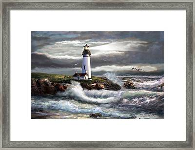 Oregon Lighthouse Beam Of Hope Framed Print by Regina Femrite