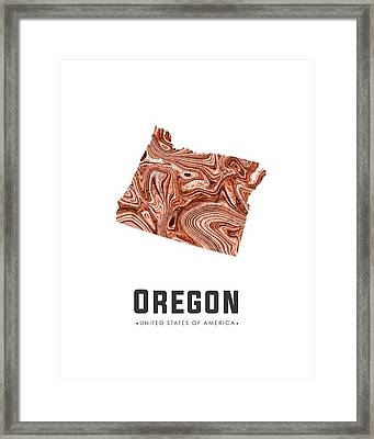Oregon Map Art Abstract In Brown Framed Print