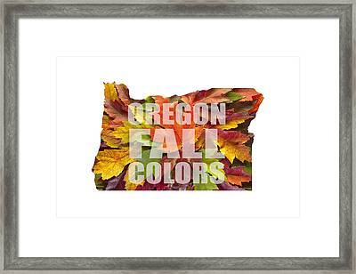 Oregon Maple Leaves Mixed Fall Colors Text Framed Print