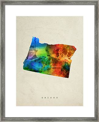 Oregon State Map 03 Framed Print by Aged Pixel