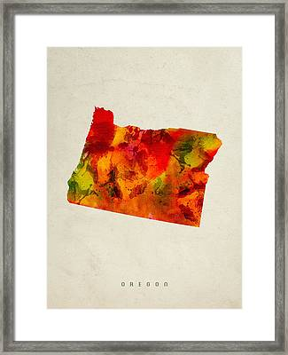 Oregon State Map 04 Framed Print by Aged Pixel