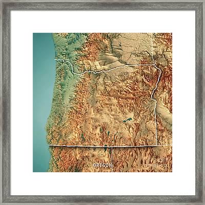 Oregon State Usa 3d Render Topographic Map Border Framed Print
