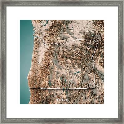 Oregon State Usa 3d Render Topographic Map Neutral Border Framed Print