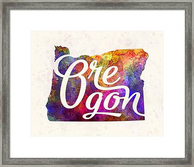 Oregon Us State In Watercolor Text Cut Out Framed Print by Pablo Romero