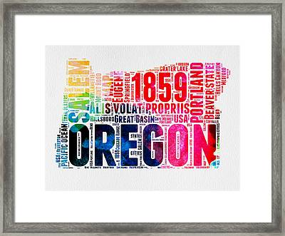 Oregon Watercolor Word Cloud Framed Print