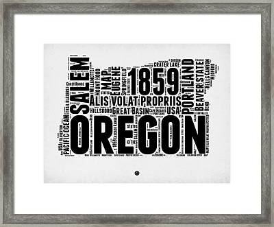 Oregon Word Cloud 1 Framed Print