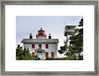 Oregon's Seacoast Lighthouses - Yaquina Bay Lighthouse - Old And New Framed Print