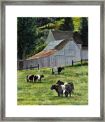 Framed Print featuring the painting Oreo Cows In Napa by Gail Chandler