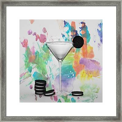 Oreo Happy Hour Watercolor Bg Framed Print by Bill Cannon