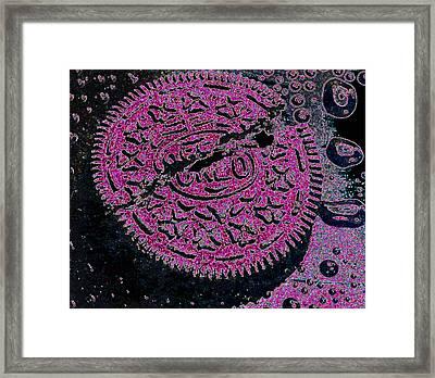 Oreo In Pink Framed Print by Nancy Mueller