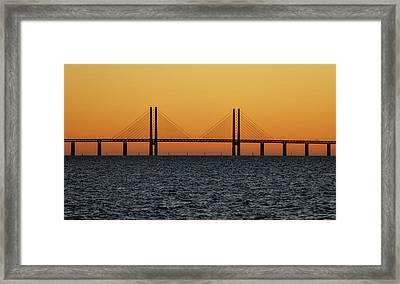 Oresund Bridge At Sunset Framed Print by Teresita Garit