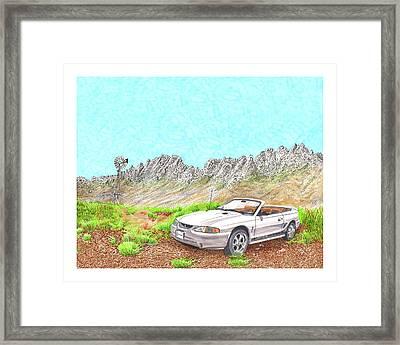 Framed Print featuring the painting Organ Mountain Mustang by Jack Pumphrey