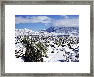 Framed Print featuring the photograph Winter's Blanket Organ Mountains by Kurt Van Wagner