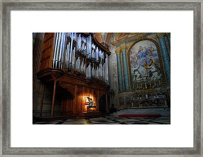 Organ Player In Saint Mary Of The Angels Basilica Rome Framed Print by Reimar Gaertner