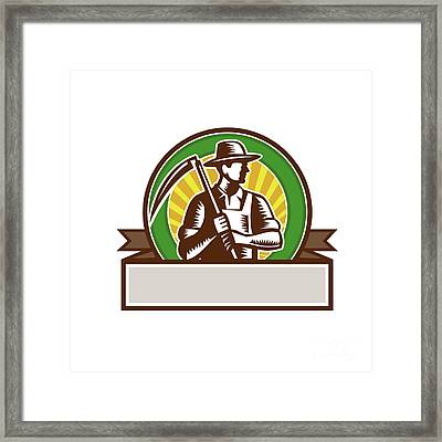 Organic Farmer Holding Scythe Circle Woodcut Framed Print by Aloysius Patrimonio