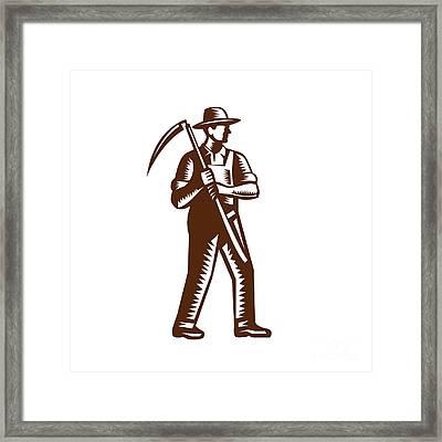 Organic Farmer Holding Scythe Woodcut Framed Print by Aloysius Patrimonio