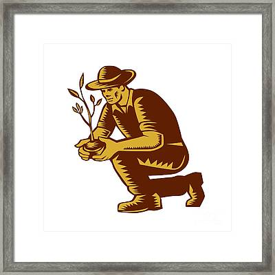 Organic Farmer Planting Tree Woodcut Linocut Framed Print