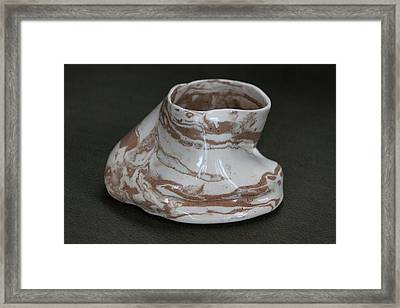 Organic Marbled Clay Ceramic Vessel Framed Print by Suzanne Gaff