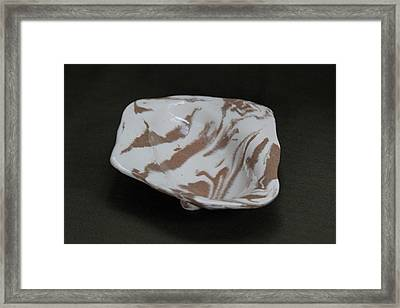 Organic Oval Marbled Ceramic Dish Framed Print by Suzanne Gaff