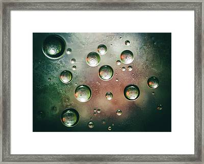 Framed Print featuring the photograph Organic Silver Oil Bubble Abstract by John Williams