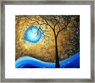 Orginal Abstract Landscape Painting Blue Fire By Madart Framed Print