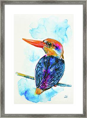 Framed Print featuring the painting Oriental Dwarf Kingfisher by Zaira Dzhaubaeva