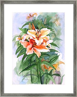 Oriental Lilies Framed Print by Nancy Watson