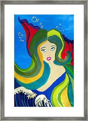 Japanese Mermaid Bubbles  Framed Print
