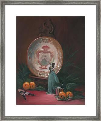 Oriental Plate Framed Print by Liz Rose