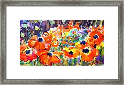 Oriental Poppies Behind Lindas Framed Print by Therese Fowler-Bailey