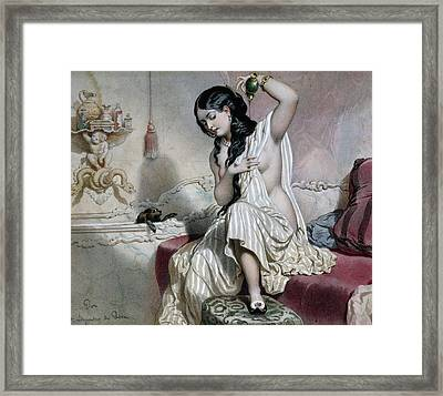 Oriental Woman At Her Toilet Framed Print by French School