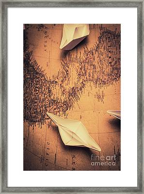 Origami Boats On World Map Framed Print by Jorgo Photography - Wall Art Gallery