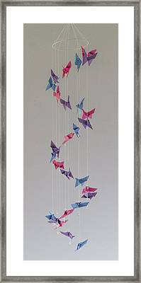 Origami Butterfly Spiral Mobile  1622 Framed Print by Karen Celella