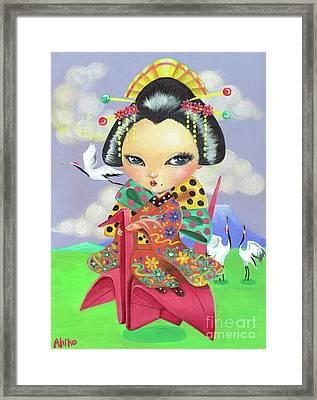 Origami Girl Framed Print