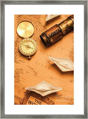 Origami Paper Boats On A Voyage Of Exploration Framed Print