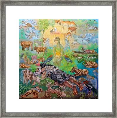 Origin Of The Goddess Framed Print by Simon Drost