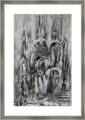 Original Abstract Black And White Painting The Return Of The Angel  Framed Print by Natalya Zhdanova