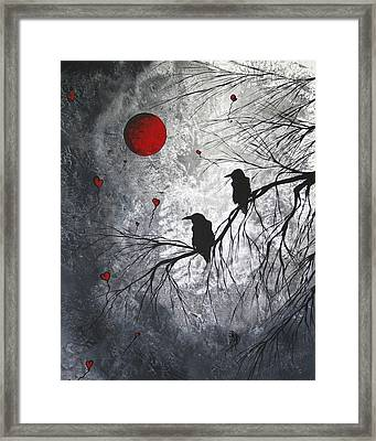 Original Abstract Surreal Raven Red Blood Moon Painting The Overseers By Madart Framed Print